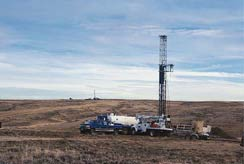 Photo of completed coalbed methane rig in Wyoming